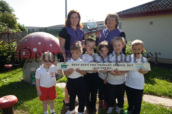 St Malachy's Nursery school Carnagat has been awarded the best kept pre school in the Southern Region by the Northern Ireland Amenity Council. Pictured with some of the pupils are Christine Campbell and Rosaleen Stanfield. R1725059
