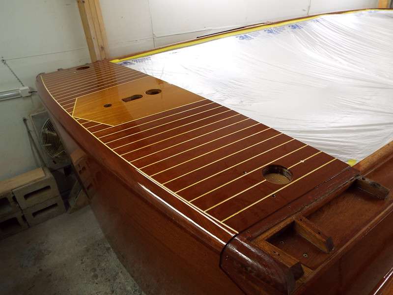 Rear deck and transom with all the finish applied.