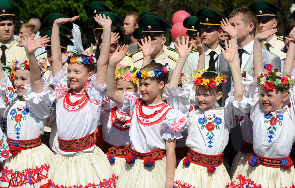 . Wearing  traditional Belarus costumes  girls take part in Victory Day celebration in Minsk, on May 9, 2013. Belarus as well as the other former Soviet republics celebrates the 1945 victory over Nazi Germany on May 9, the date of the Nazis\' capitulation to the Soviet Union, which took place in the evening on May 8, 1945 (May 9 by Moscow Time), following the original capitulation Germany agreed earlier to the joint Allied forces on the Western Front. VIKTOR DRACHEV/AFP/Getty Images