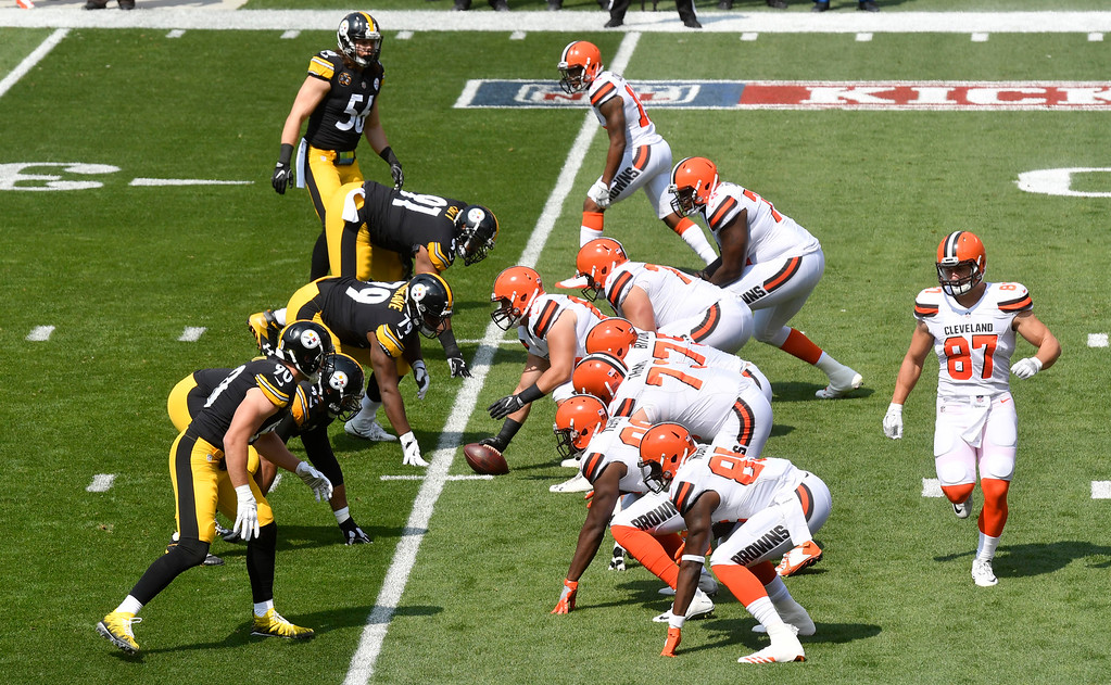 . The Pittsburgh Steelers and the Cleveland Browns line up during the first half of an NFL football game, Sunday, Sept. 10, 2017, in Cleveland. (AP Photo/David Richard)