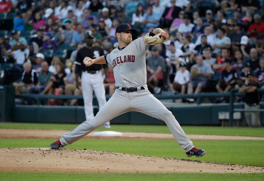 . Cleveland Indians starting pitcher Shane Bieber throws against the Chicago White Sox during the first inning of a baseball game Friday, Aug. 10, 2018, in Chicago. (AP Photo/Nam Y. Huh)