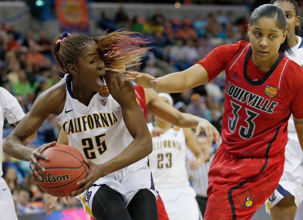 . California forward Gennifer Brandon (25) grabs a rebound against Louisville forward Monique Reid (33) in the second half of a national semifinal at the Women\'s Final Four of the NCAA college basketball tournament, Sunday, April 7, 2013, in New Orleans. (AP Photo/Dave Martin)