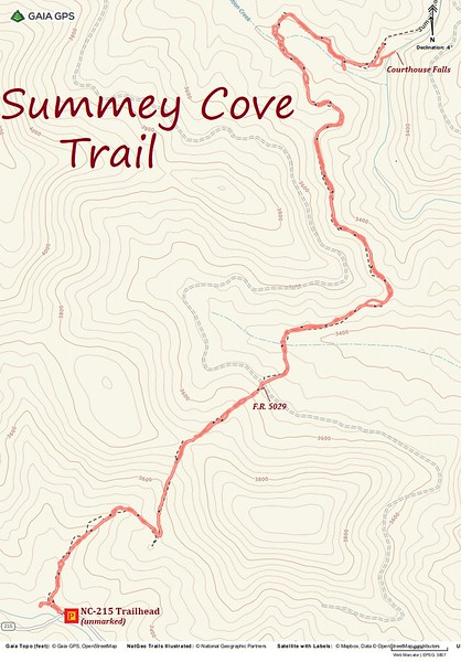 Summey Cove Trail Hike Route Map