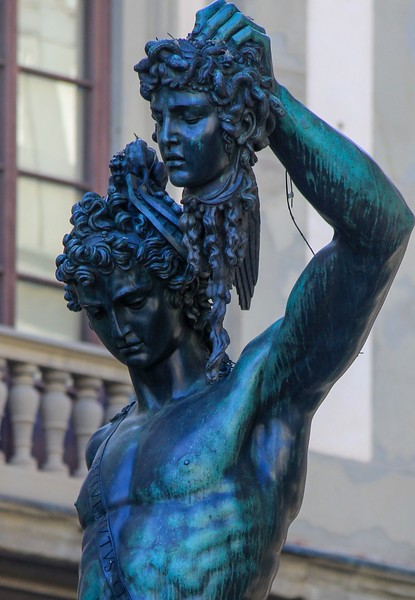 Closeup of the Perseus/Medusa statue.