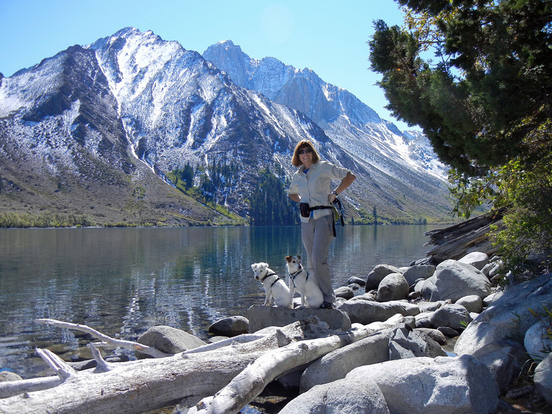 The boys at Convict Lake, Mount Morrison in background