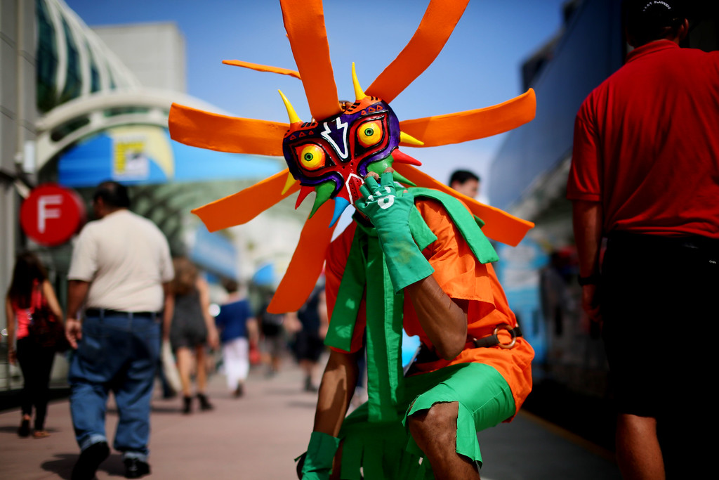 . SAN DIEGO, CA - JULY 19: Attendee Anthony Knight dresses as Skull Kid from Legends of Zelda at Comic Con at the San Diego Convention Center on July 19, 2013 in San Diego, California.  Comic Con International Convention is the world\'s largest comic and entertainment event and hosts celebrity movie panels, a trade floor with comic book, science fiction and action film-related booths, as well as artist workshops and movie premieres. (Photo by Sandy Huffaker/Getty Images)