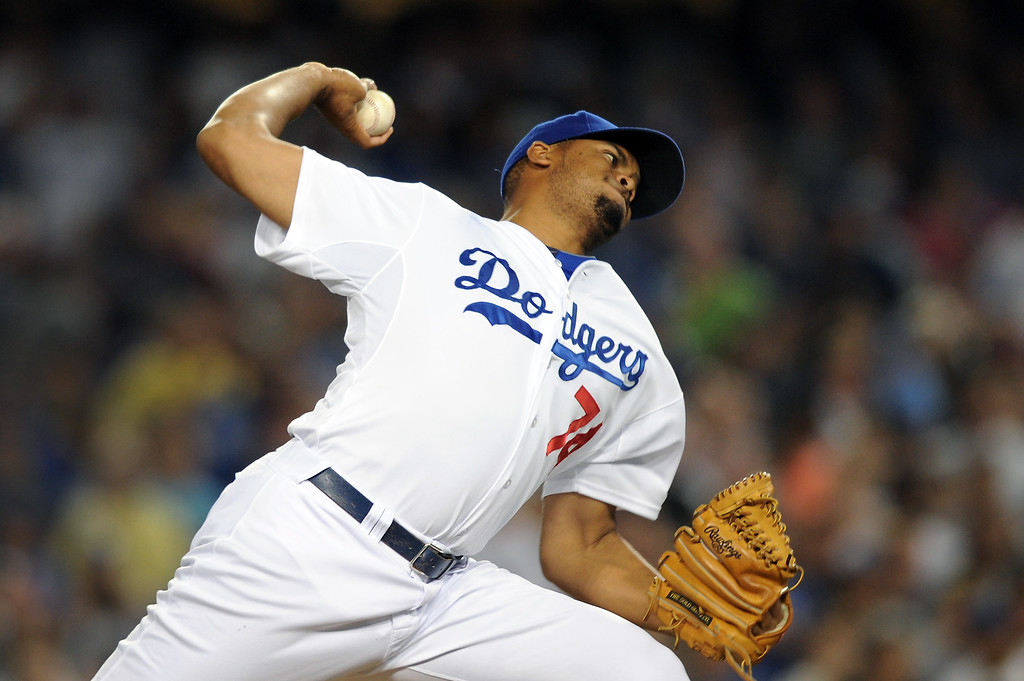 . Dodgers closer Kenley Jansen pitched a perfect ninth against the Red Sox, Friday, August 23, 2013. (Michael Owen Baker/L.A. Daily News)