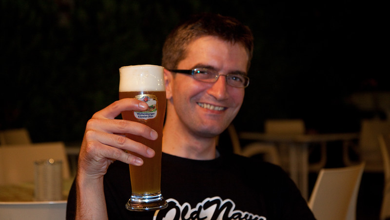 Robert was happy and surprised to find proper Bavarian beer