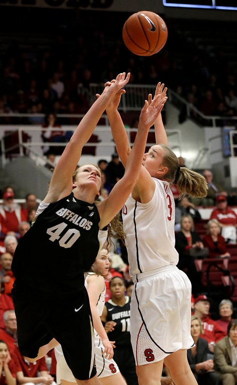 . Colorado \'s Rachel Hargis (40) shoots next to Stanford \'s Mikaela Ruef (3) during the first half of an NCAA college basketball game in Stanford, Calif., Sunday, Jan. 27, 2013. (AP Photo/Marcio Jose Sanchez)