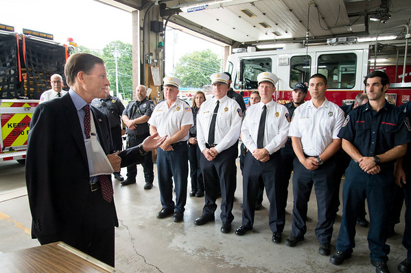 09/13/19 Wesley Bunnell | StaffrrThe New Britain Fire Department is receiving federal grant money to improve safety in the fire houses along with EMS workers receiving grant money to replace aging equipment in a press conference announced by Senator Richard Blumenthal and Mayor Erin Stewart. Senator Blumenthal turns to address fire department employees during his speech.