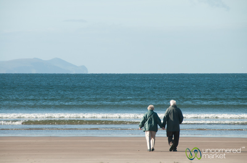 Old Couple Holding Hands on Inch Beach - County Kerry, Ireland