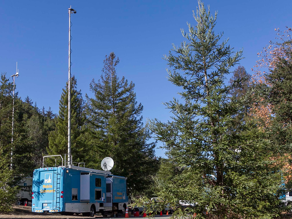 . PG&E set up its mobile command station in Big Sur Station Saturday, December 21, 2013 in Big Sur, Calif. (Vernon McKnight/Herald Correspondent)