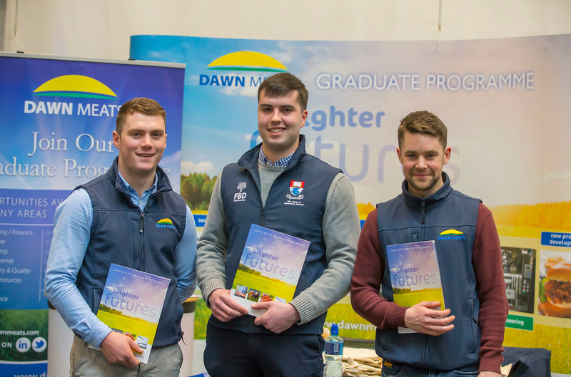 09/03/2018.  Land Sciences Careers Day. Waterford Institute of Technology and Teagasc marked 40 years of partnership at a Land Sciences Careers event for WIT students at the WIT Arena. The programmes the two collaborate on span right across the board from agrifood, to forestry, and horticulture.  Pictured are Simon Delaney Dawn Meats, Niall Laffan, WIT Student and Paul Sweeney Dawn Meats. Picture: Patrick Browne