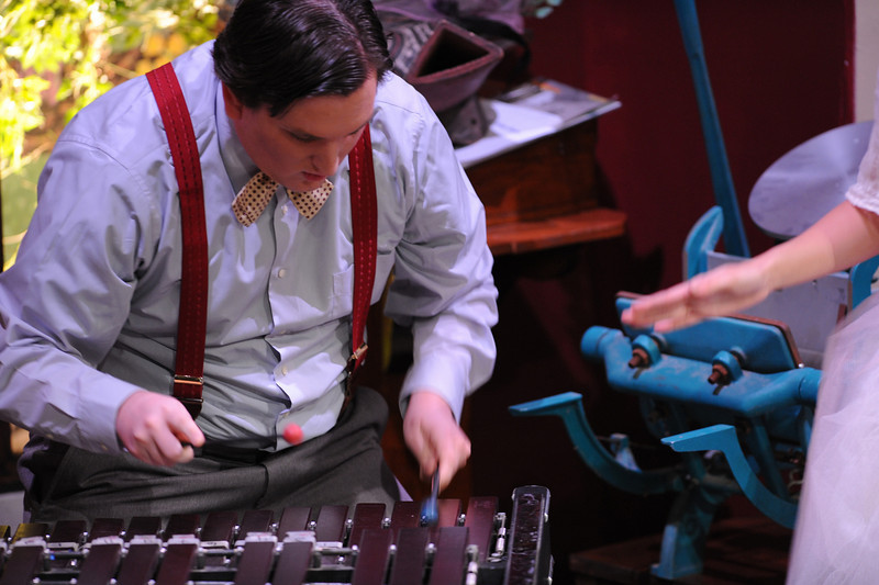 Ed is married to Essie. His two passions are shown here, his xylophone and his printing press.