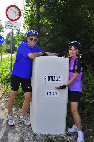 Jack and Gloria at the Slovenian and Italian border ,AKA Jack's birthday!
