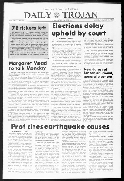 Daily Trojan, Vol. 62, No. 86, March 11, 1971