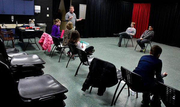 2/16/2019 Mike Orazzi | Staff No Boundaries Youth Theater's Darren Farrington while directing an acting class at the New Britain-Berlin YMCA in Berlin Saturday morning.