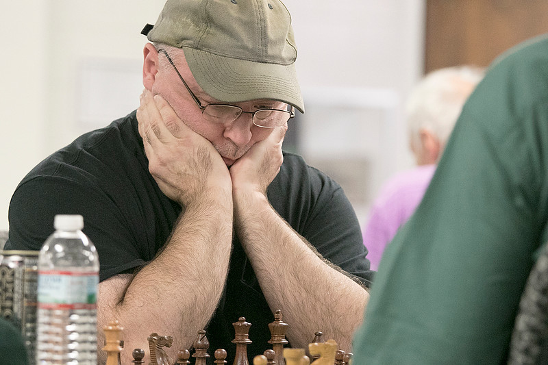 The Wachusett Chess Club held the Rocco R. Pasquale Memorial chess tournaments on Wednesday, September 4, 2019 at Fitchburg State University's McKay Campus School. John Bastarache of Fitchburg thinks about his move. SENTINEL & ENTERPRISE/JOHN LOVE