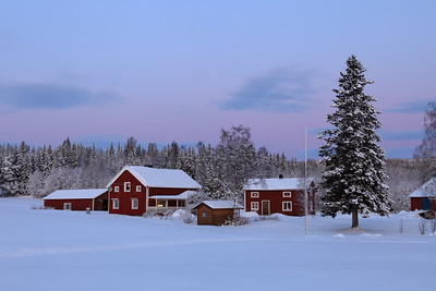 Farm houses at dusk