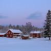 Farm houses at dusk