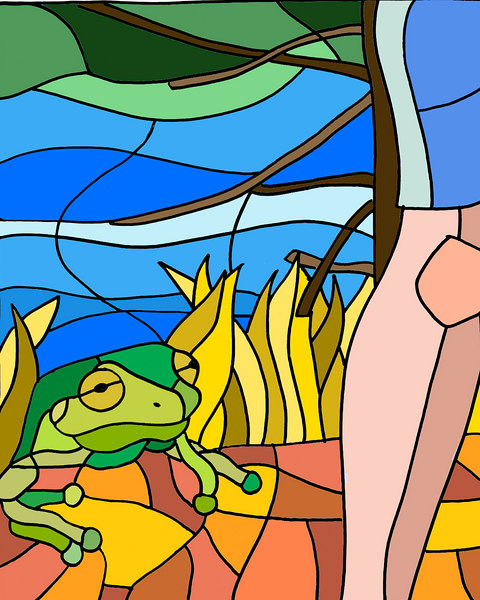 "Another stained glass panel, imagining a sleepy frog struggling up the bank. The lake was loaded with frogs, and the kids ""hunted"" them at night (armed with flashlights and nets). This was sketched in pencil, inked with sharpie, painted in photoshop."