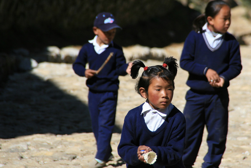 Going to school in Namche