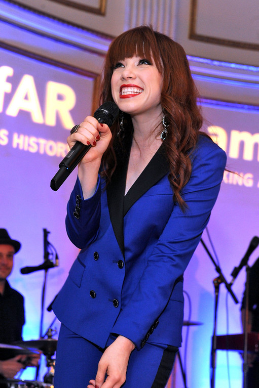 . NEW YORK, NY - JUNE 13:  Singer Carly Rae Jepsen performs during the 4th Annual amfAR Inspiration Gala New York at The Plaza Hotel on June 13, 2013 in New York City.  (Photo by Jamie McCarthy/Getty Images)