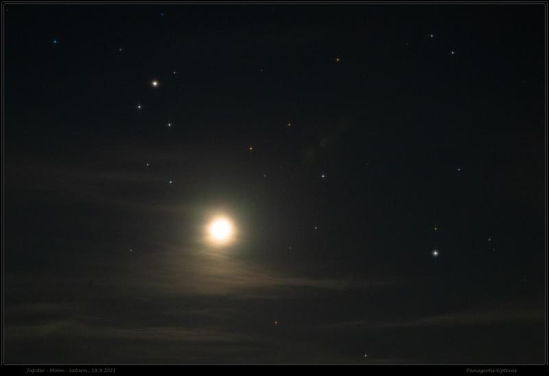 Jupiter, Moon, Saturn