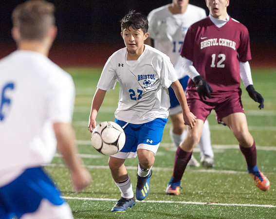 10/29/18 Wesley Bunnell | Staff Bristol Central boys soccer vs Bristol Eastern on Monday night in a game played at Bristol Central High School. Eastern's Roger Jimenez-Pulia (27).