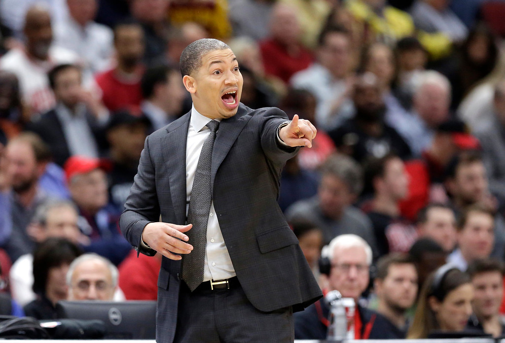 . Cleveland Cavaliers\' Tyronn Lue directs his team during the first half of an NBA basketball game against the Chicago Bulls Monday, Dec. 4, 2017, in Chicago. (AP Photo/Charles Rex Arbogast)