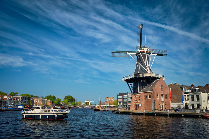 Harlem landmark  windmill De Adriaan on Spaarne river. Harlem,  Netherlands