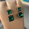 Georgian Double Drop Emerald Paste Earrings 8