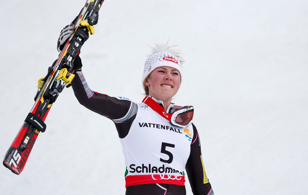. United States\' Mikaela�Shiffrin celebrates winning the gold medal after the second run of the women\'s slalom at the Alpine skiing world championships in Schladming, Austria, Saturday, Feb.16,2013. (AP Photo/Matthias Schrader)