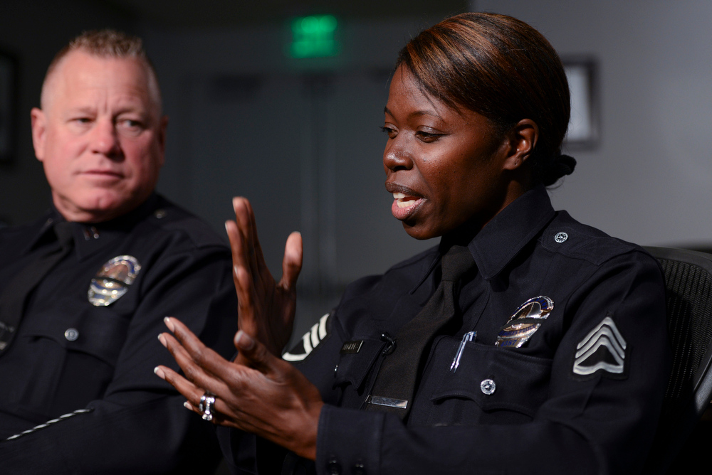 . LAPD Captain Phil Tingirides and Sergeant Emada Tingirides  talk about their ordeal as they were targeted by Dorner.  Photo by David Crane/Staff Photographer