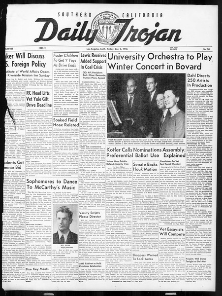 Daily Trojan, Vol. 38, No. 58, December 06, 1946