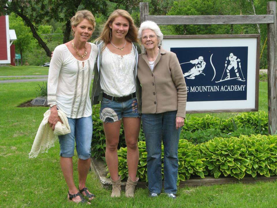 Description of . Mikaela Shiffrin (center) with mom Eileen (left) and grandmother Pauline Condron (right) at Shiffrin's high school graduation last spring. Condron, 92 (Eileen's mom) gets up at 4 a.m. to watch Mikaela's World Cup races streamed live online from Europe and can't wait for the Olympics, where Mikaela will be a medal contender at age 18. Courtesy of the Shiffrin Family