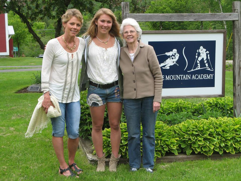 . Mikaela Shiffrin (center) with mom Eileen (left) and grandmother Pauline Condron (right) at Shiffrin\'s high school graduation last spring. Condron, 92 (Eileen\'s mom) gets up at 4 a.m. to watch Mikaela\'s World Cup races streamed live online from Europe and can\'t wait for the Olympics, where Mikaela will be a medal contender at age 18. Courtesy of the Shiffrin Family
