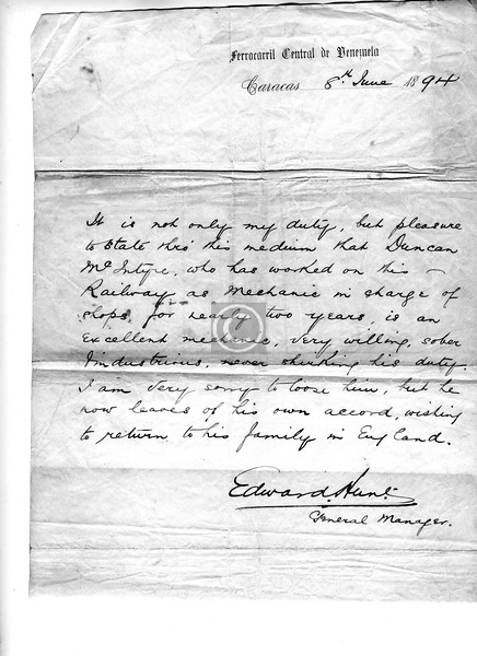My grandfather's letter of reference from his boss in Caracas. ' . . . return to his family in England',  that must have caused some wry comment