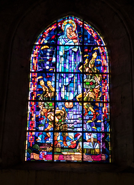 Stained Glass in Church where American paratrooper hung on steeple-1213.jpg