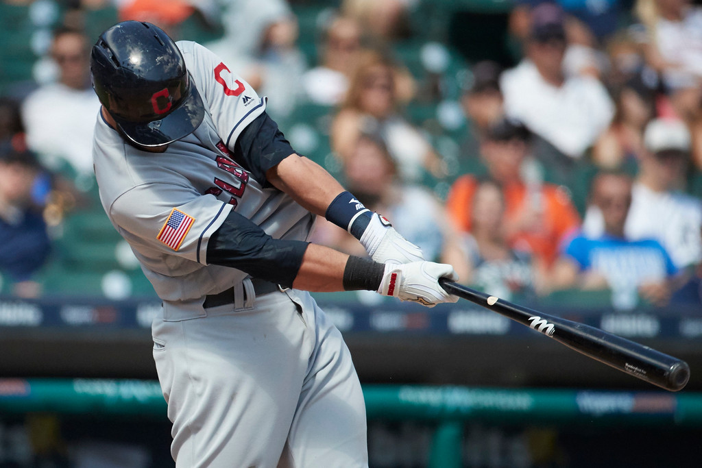 . Cleveland Indians Yan Gomes hits a double against the Detroit Tigers in the eighth inning of a baseball game in Detroit, Sunday, July 2, 2017. (AP Photo/Rick Osentoski)