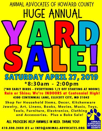 Animal Advocates of Howard County Yard Sale 2019