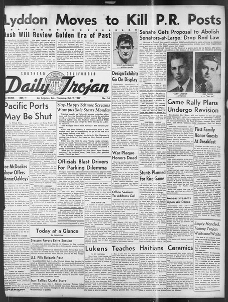 Daily Trojan, Vol. 39, No. 14, October 02, 1947