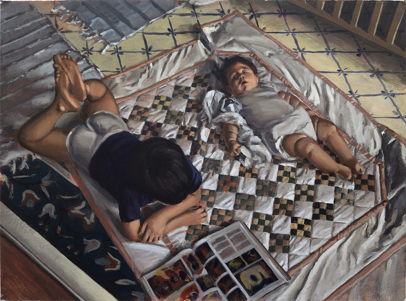 Children on quilt, acrylic on paper, 22 x 30 in, circa 1992