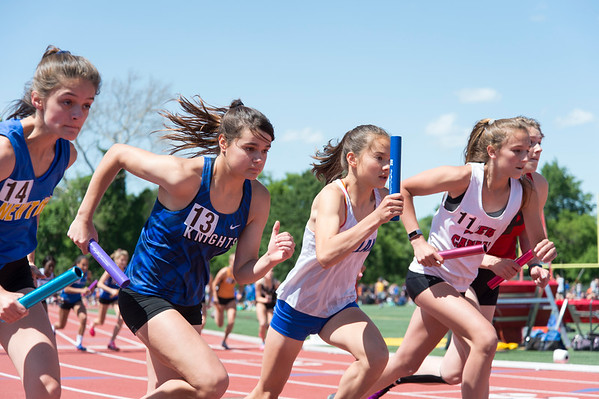 06/03/19 Wesley Bunnell | Staff The CIAC held their open track and field state open at Willow Brook Park on Monday afternoon. Southington's Jacqueline Izzo (13) at the start of the girls 4x800 meter relay.