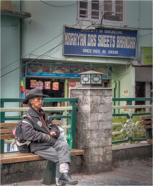 Man on M G Marg in Gangtok, Sikkim, India.