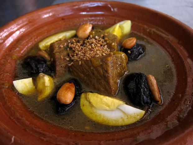 Beef, prune and almond tagine at Cafe Sirene