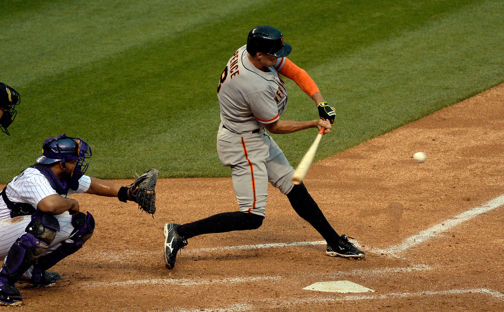. DENVER, CO - MAY 22: San Francisco Giants right fielder Hunter Pence (8) grounds into a double play in the 6th inning against the Colorado Rockies May 22, 2014 at Coors Field. (Photo by John Leyba/The Denver Post)