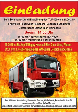 Einweihung TLF4000 Feuerwehr Heinsberg - Löschzug Stadtmitte