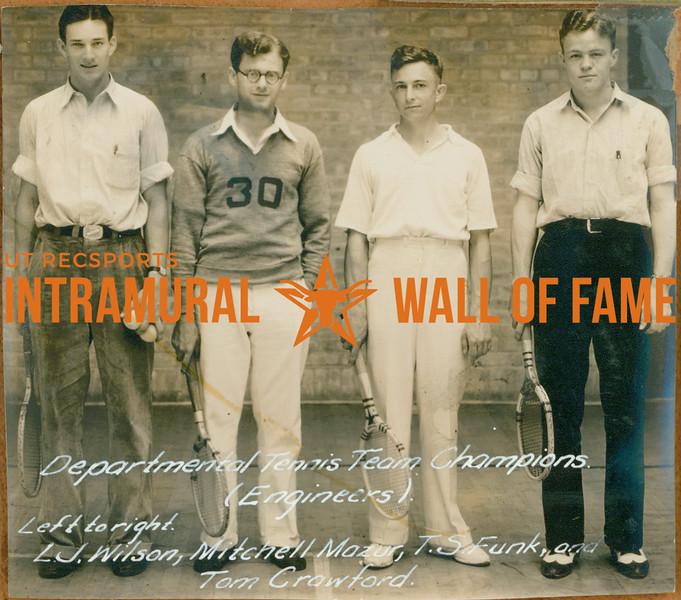 TENNIS Departmental Champions  Engineers  L. J. Wilson, Mitchell Mazur, T. S. Funk, tom Crawford