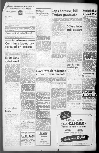 Daily Trojan, Vol. 36, No. 196, September 10, 1945